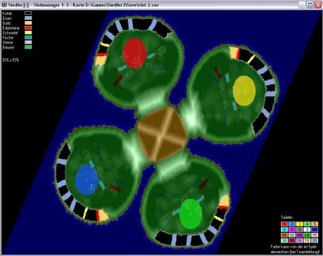 Settlers 3 Map: 576- Four Rings from admin